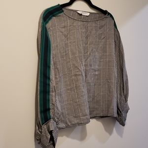 Zara Green/Blue/Black Checked Blouse